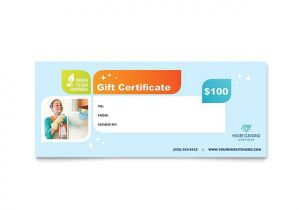 Template for Gift Certificate for Services Cleaning Services Gift Certificate Template Design