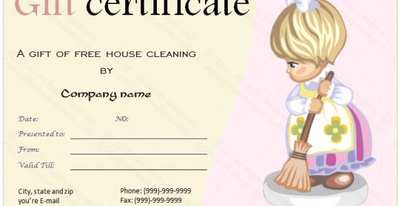 Template for Gift Certificate for Services Cleaning Services Gift Certificate Template