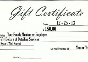 Template for Gift Certificate for Services Detailing Knights Auto Detailing Car Cleaning Services