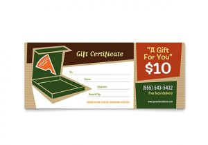 Template for Gift Certificate for Services Pizza Pizzeria Restaurant Gift Certificate Template Design