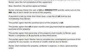Template for Rent to Own Contract Rent to Own Home Contract 7 Examples In Word Pdf