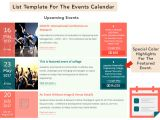 Template for Schedule Of events the events Calendar Shortcode and Templates WordPress org