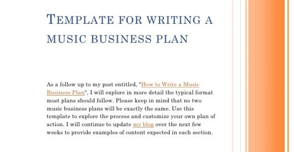 Template for Writing A Music Business Plan Template for Writing A Music Business Plan
