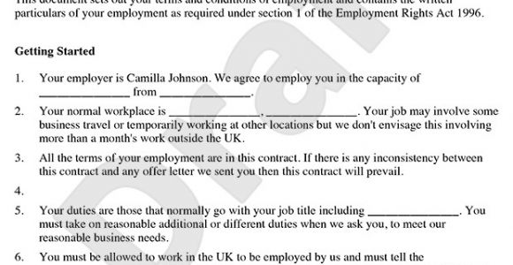 Template Of A Contract Of Employment Employment Contract Template Free Contract Of Employment