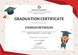 Templates for Graduation Certificates Free Nursery Graduation Certificate Template In Psd Ms