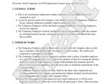 Temporary Contract Of Employment Template Sample Temporary Employment Contract form Template