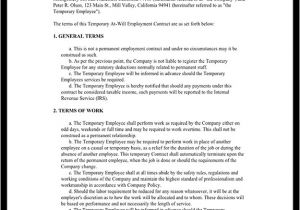 Temporary Contract Of Employment Template Temporary Employment Contract Agreement Template with