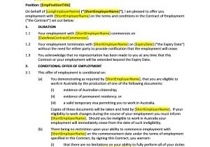 Terms Of Employment Contract Template Hr Advance Contract Of Employment True Fixed Term
