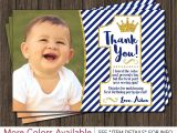 Thank You Birthday Card Wording Prince First Birthday Thank You Card Royal Blue 1st