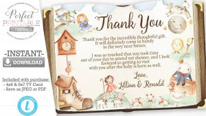 Thank You Card Birthday Template Nursery Rhyme Baby Shower Thank You Card Mother Goose Thank