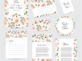 Thank You Card Flower Design Vector Gentle Wedding Cards Template with Flower Design Invitation