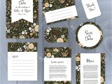 Thank You Card Flower Design Vector Gentle Wedding Cards Template with Flower Design Wedding