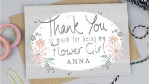Thank You Card Flower Girl Thank You for Being My Flower Girl Card Personalised