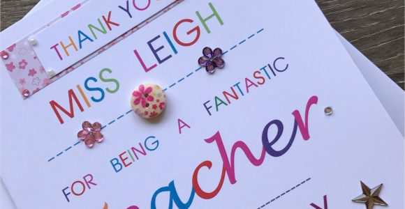 Thank You Card for Your Hard Work Thank You Personalised Teacher Card Special Teacher Card