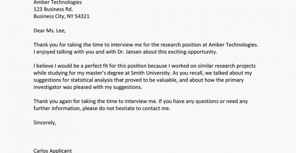 Thank You Card Job Interview format for Writing An Interview Thank You Letter