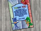 Thank You Card On Birthday Disney Junior Pj Mask Inspired Birthday Thank You Card