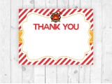 Thank You Card On Birthday Firemen Printable Thank You Cards Instant Download
