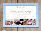 Thank You Card On Birthday Winter Thank You Note Photo Card Boy Girl Birthday Blue
