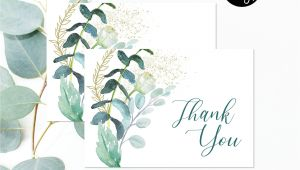 Thank You Card Template 8.5 X 11 Editable File Greenery Thank You Card Green Foliage Bridal
