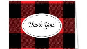 Thank You Card Template for Kids Buffalo Plaid Thank You Cards Free Download Easy to