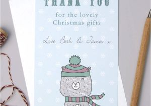 Thank You for the Beautiful Card and Gift Personalised Bear Christmas Thank You Cards
