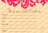 Thank You Gift Certificate Template Gift Voucher Templates Gift Certificate Templates