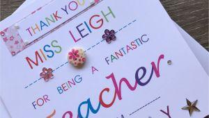 Thank You Teacher Card Handmade Thank You Personalised Teacher Card Special Teacher Card