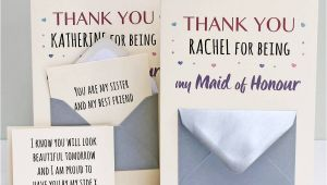 Thank You Wedding Card Sayings Maid Of Honour Thank You Secret Messages Card with Images
