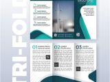 Three Page Brochure Template Business Tri Fold Brochure Template Design with Turquoise