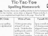 Tic Tac toe Homework Template Classroom Freebies too Spelling Homework Freebie
