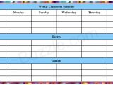 Timetable Templates for Teachers Printable Weekly Class Schedule Template