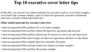 Top Ten Cover Letters top 10 Executive Cover Letter Tips