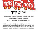 Toys for tots Email Template toys for tots toy Drive at Village Hall Starts today the