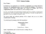 Training Confirmation Email Template Summer Training Offer Letter format