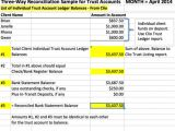 Trust Account Reconciliation Template Sample Spreadsheet