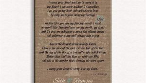 Ttd Marriage Card Sending Address Personalized Gift for Mother Of Bride Parents Faux Burlap Turquoise I Carry Your Heart Ee Cummings 8×10 Unframed Paper Art Print