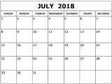 Type On Calendar Template July 2018 Calendar Template Printable Printable