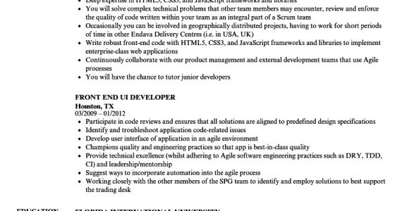 Ui Developer Sample Resume Front End Ui Developer Resume Samples Velvet Jobs