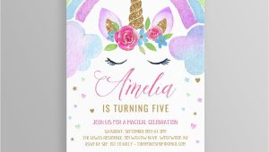 Unicorn Thank You Card Template Free Unicorn Birthday Invitation Instant Download Rainbow
