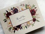 Unique Thank You Card Ideas Wedding Marsala Thank You Card Set Boho Thank You Cards Wedding