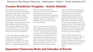 University Newsletter Templates 15 Free Microsoft Word Newsletter Templates for Teachers