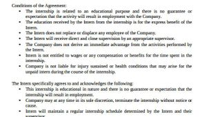 Unpaid Internship Contract Template 35 Agreement Templates Free Premium Templates
