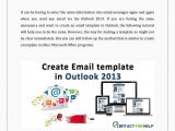 Using Email Templates In Outlook 2013 Create An Email Template In Outlook 2013 by Lisa Heydon