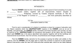 Usufructuary Contract Sample Template Contract Of Usufruct