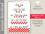 Valentine Card for A Friend I Love You More Printable Anniversary Card Romantic
