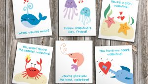 Valentine Card Ideas for toddlers Ocean Friends Printable Cutout Valentines for Kids