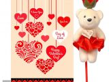 Valentine Day Card Messages for Boyfriend Day Of Love Valentine Day Greeting Card Red Rose with White Teddy Combo Valentine Love Gifts