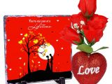 Valentines Card You are My Rock You are My Love Of A Lifetime Valentines Day Rock Tile Frame with 5 Roses Heart