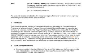Vehicle Owner Finance Contract Template Financing Agreement Template Sample form Biztree Com