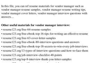 Vendor Management Cover Letter top 8 Vendor Manager Resume Samples